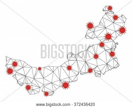 Polygonal Mesh Chinese Inner Mongolia Map With Coronavirus Centers. Abstract Mesh Connected Lines An