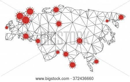 Polygonal Mesh Eurasia Map With Coronavirus Centers. Abstract Network Connected Lines And Flu Viruse