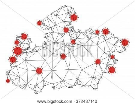 Polygonal Mesh Madhya Pradesh State Map With Coronavirus Centers. Abstract Mesh Connected Lines And