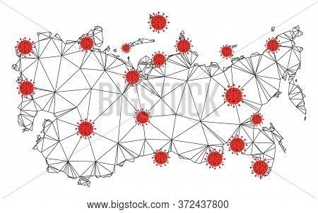 Polygonal Mesh Ussr Map With Coronavirus Centers. Abstract Mesh Connected Lines And Flu Viruses Form