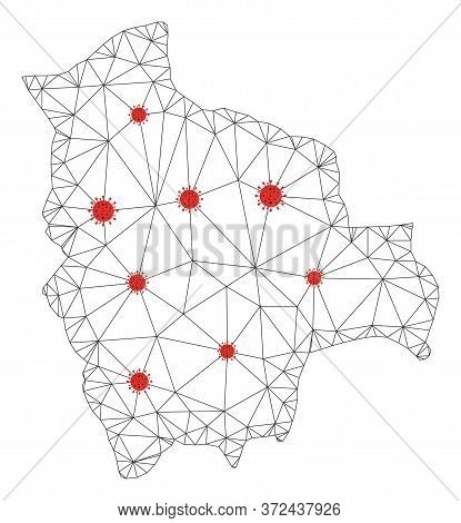 Polygonal Mesh Bolivia Map With Coronavirus Centers. Abstract Network Connected Lines And Flu Viruse