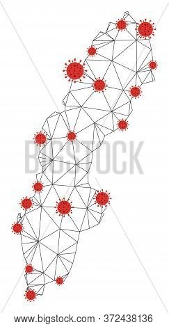 Polygonal Mesh Sweden Map With Coronavirus Centers. Abstract Net Connected Lines And Covid- 2019 Vir
