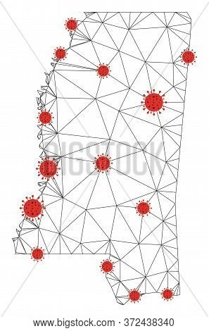 Polygonal Mesh Mississippi State Map With Coronavirus Centers. Abstract Network Connected Lines And
