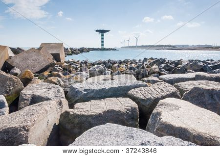 Breakwater Of Large Blocks In The Dutch North Sea