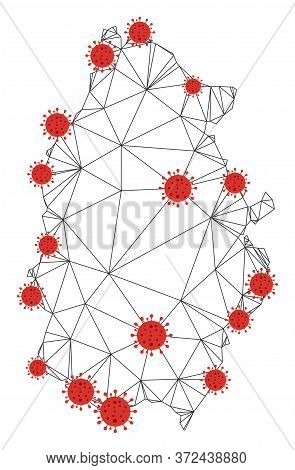 Polygonal Mesh Lugo Province Map With Coronavirus Centers. Abstract Network Connected Lines And Covi