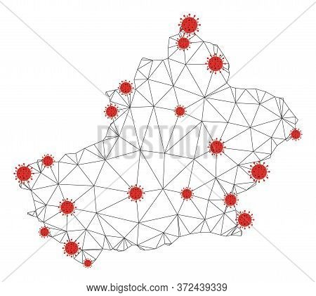 Polygonal Mesh Xinjiang Uyghur Region Map With Coronavirus Centers. Abstract Network Connected Lines