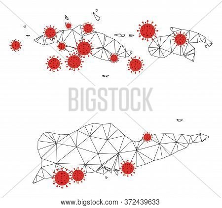 Polygonal Mesh American Virgin Islands Map With Coronavirus Centers. Abstract Network Connected Line