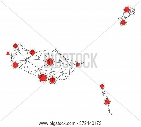 Polygonal Mesh Madeira Islands Map With Coronavirus Centers. Abstract Network Connected Lines And Fl