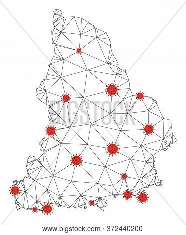 Polygonal Mesh Sverdlovsk Region Map With Coronavirus Centers. Abstract Mesh Connected Lines And Cov