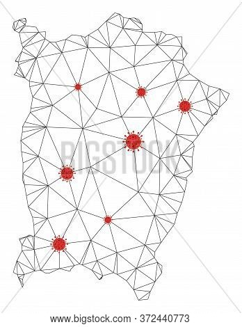 Polygonal Mesh Penang Island Map With Coronavirus Centers. Abstract Network Connected Lines And Covi