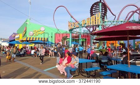 Popular Santa Monica Pier In Los Angeles At Summertime - Los Angeles, United States Of America - Apr