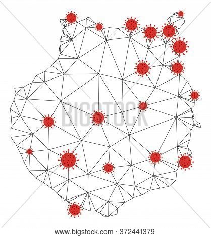 Polygonal Mesh Gran Canaria Map With Coronavirus Centers. Abstract Network Connected Lines And Flu V