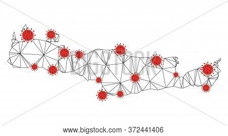 Polygonal Mesh Crete Island Map With Coronavirus Centers. Abstract Network Connected Lines And Covid