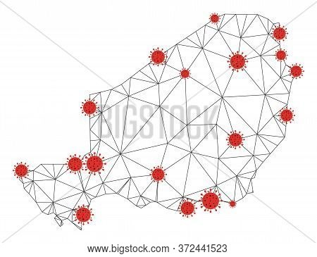 Polygonal Mesh Niger Map With Coronavirus Centers. Abstract Network Connected Lines And Flu Viruses