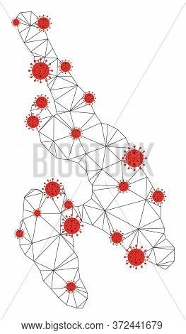 Polygonal Mesh Koh Phi Don Map With Coronavirus Centers. Abstract Network Connected Lines And Covid-
