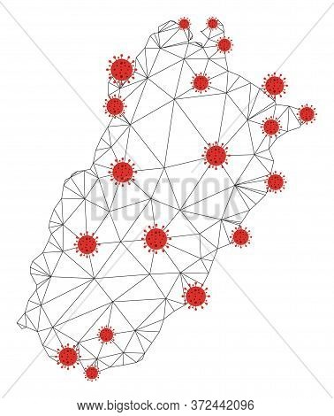 Polygonal Mesh Punjab Province Map With Coronavirus Centers. Abstract Network Connected Lines And Co
