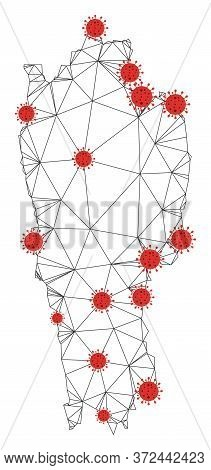 Polygonal Mesh Mizoram State Map With Coronavirus Centers. Abstract Mesh Connected Lines And Covid-