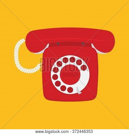 Retro Phone With Dial Dial On A White Background. Vector Illustration