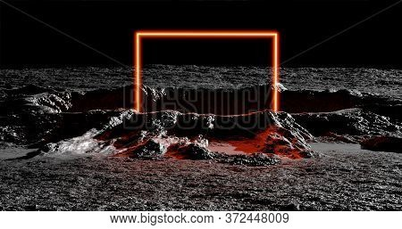 3d Rendering. A Meteorite Crater On The Surface Of A Satellite, Moon Or Planet In Squareneon Light.