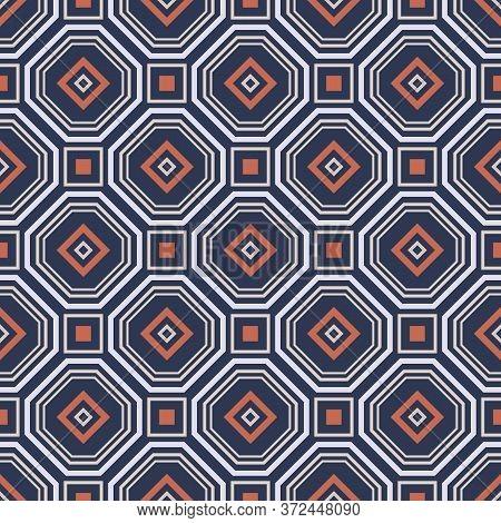 Retro Vintage Chinese Traditional Pattern Seamless Background Geometry Polygon Square Cross Frame Li