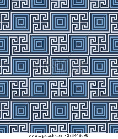Retro Vintage Chinese Traditional Pattern Seamless Background Geometry Square Spiral Cross Tracery F