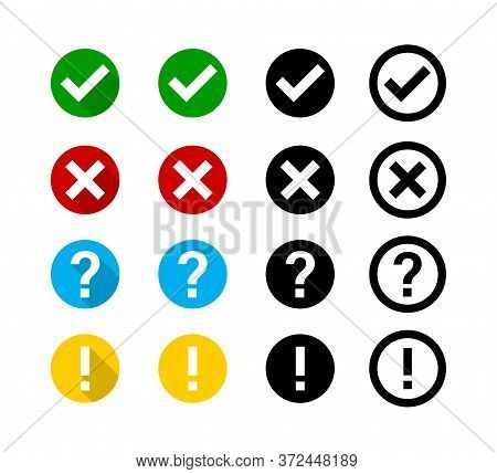 Checkmark Cross Question Exclamation Sign Or Mark. Isolated Vector Signs Symbols. Checkmark Icon Set