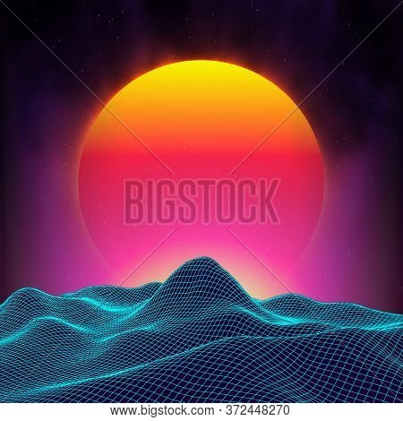Retro Background Futuristic Landscape 1980s Style. Digital Retro Landscape Cyber Surface. Retro Musi