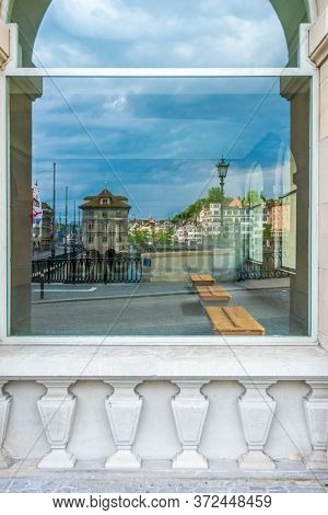 ZURICH, SWITZERLAND, MAY 29, 2016: Architectural Elements of Historical buildings in the center of ZURICH.