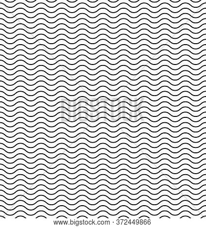 Wavy Line Seamless Pattern. Vector Abstract Pattern. Horizontal Vector Banner. Black Wavy Wallpaper.