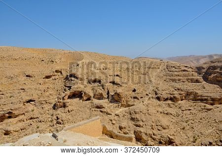 Savva Monastery Consecrated Over Kidron Valley In The Judean Desert. Israel, Palestine