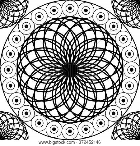 Stylized Vector Seamless Pattern, Carved Black And White Spheres. Background For Textile And Other D