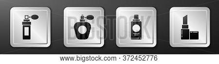 Set Perfume, Perfume, Bottle Of Shampoo And Lipstick Icon. Silver Square Button. Vector