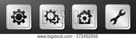 Set Gear And Arrows As Workflow, Gear, House With Gear And Wrench Spanner Icon. Silver Square Button