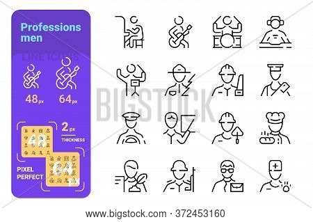Set Of Men Professions Vector Illustration. Creative Different Occupation For Male Flat Style. Caree