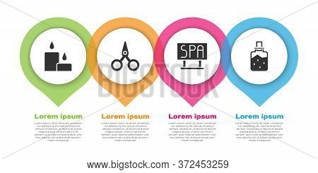 Set Burning Candle, Scissors, Spa Salon Signboard And Spa Salt. Business Infographic Template. Vecto
