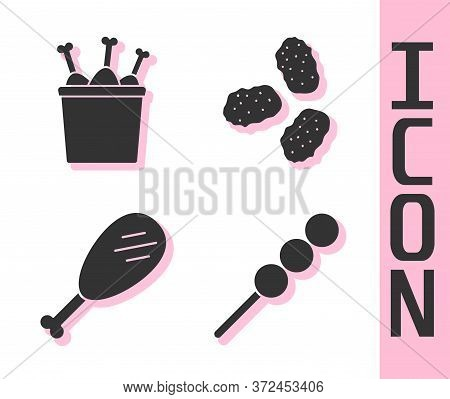 Set Meatballs On Wooden Stick, Chicken Leg In Package Box, Chicken Leg And Chicken Nuggets Icon. Vec