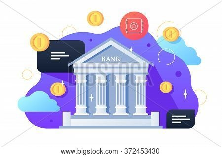 Bank Building And Coins Vector Illustration. Architecture Building With Columns Flat Style. Money Ex
