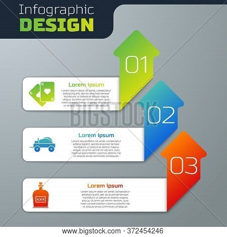 Set Playing Cards, Wild West Covered Wagon And Alcohol Drink Rum Bottle. Business Infographic Templa