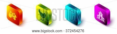 Set Isometric Western Stagecoach, Wild West Saddle, Pickaxe And Church Building Icon. Vector
