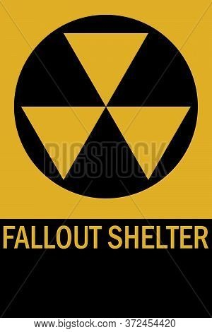 Fallout Shelter Sign. Yellow, Black Background. Perfect For Backgrounds, Poster, Sticker, Icon, Sign