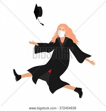 Young 20202 Graduate Student Girl In Medical Mask And Graduation Gown Jumping And Throwing The Morta