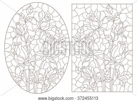 A Set Of Contour Illustrations Of Stained Glass Windows With Rosees In Frames, Dark Contours On A Wh