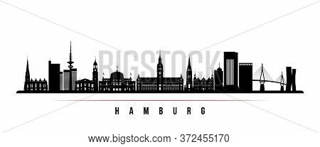 Hamburg Skyline Horizontal Banner. Black And White Silhouette Of Hamburg, Germany. Vector Template F