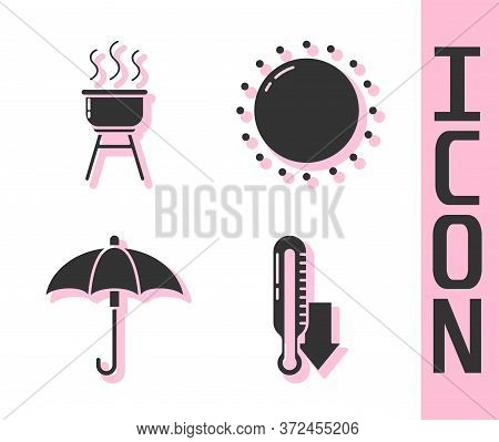 Set Meteorology Thermometer, Barbecue Grill, Umbrella And Sun Icon. Vector