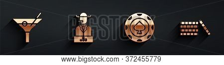 Set Martini Glass, Poker Player, Casino Chips And Casino Chips Icon With Long Shadow. Vector