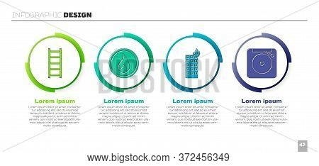 Set Fire Escape, Fire Flame, Fire In Burning Building And Ringing Alarm Bell. Business Infographic T
