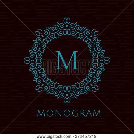 Simple And Graceful Monogram Design Template, Elegant Line Art Logo Design, Vector Illustration