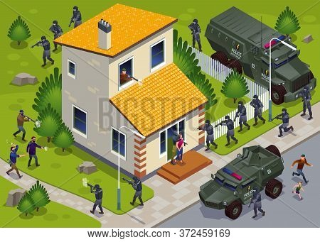 Anti Terror Operation Of Special Police Forces With Armored Vehicles And Hostage Release Illustratio