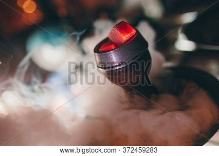 Hot Close Up Red Coals With Hookah Sparks In Ceramic Bowl For Shisha Smoking Coal For Hookah And Rel