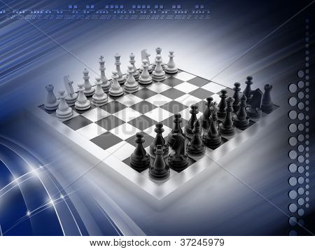 CHESS BOARD with figures isolated on white background
